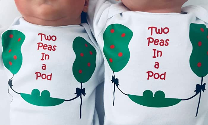 Two Peas In A Pod Twin Babies First Birthday Outfits Matching Sibling Shirts Baby Gift For Twins Short Sleeve White 12 To 18 Months