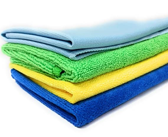 SOBBY Microfibre Cleaning Cloths Set of 4 - Microfiber duster - polishing cloth - Glass cloth - Drying cloth