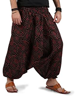 b6be2b56377 THE HAREM STUDIO Mens Womens Boho Hippie Baggy Cotton Harem Pants with  Pockets - Spiral Design