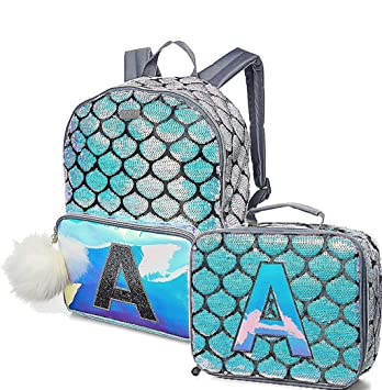 83cc3d7719 Amazon.com  Justice Girls Mermaid Flip Sequins Backpack School Bag with  Matching Lunchbox Lunch Tote with Initial Letter (Initial E)  Give JOY!