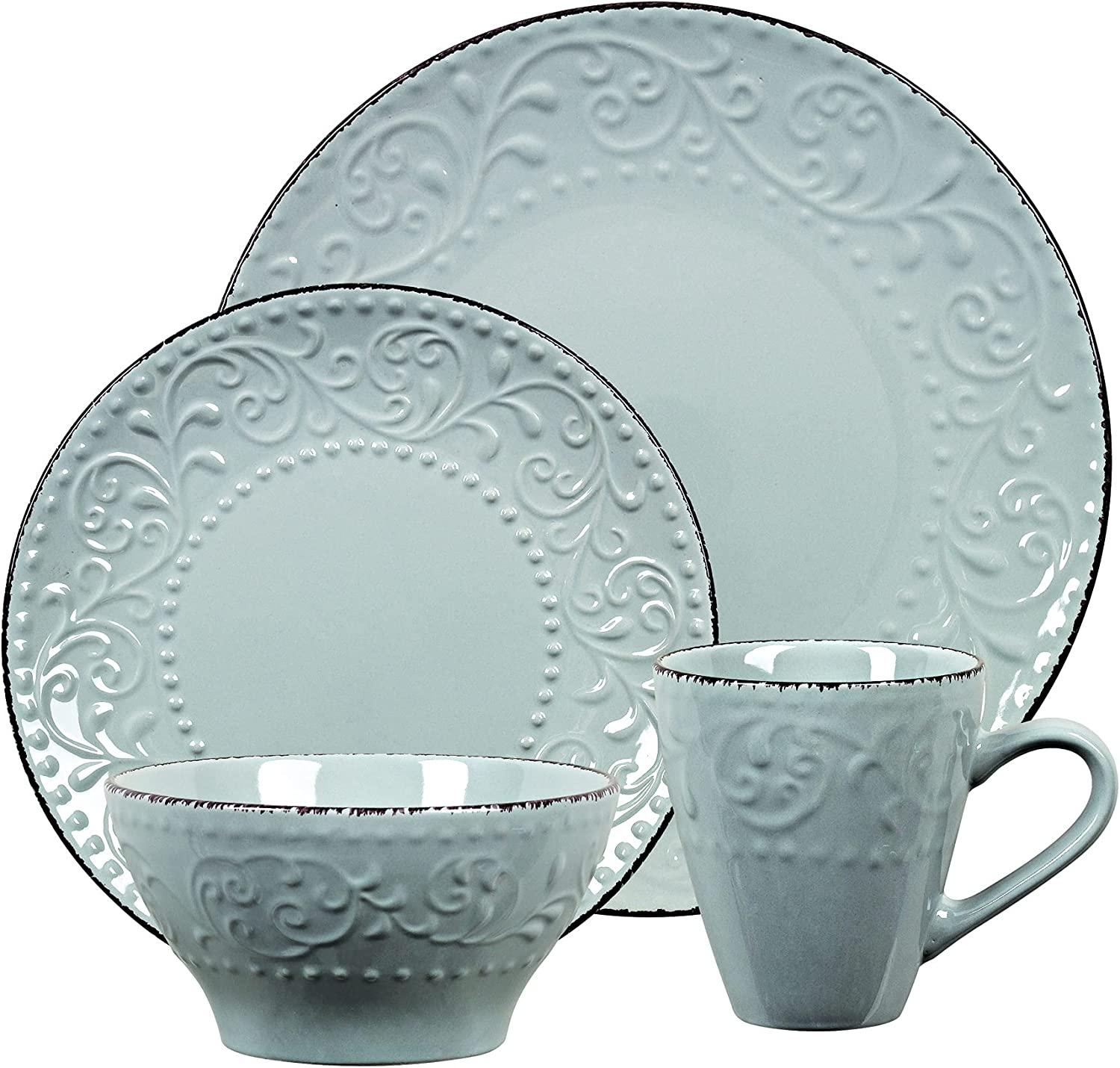 Lorren Home Trends LH527 Dinnerware Set for Entertaining, One Size, Gray