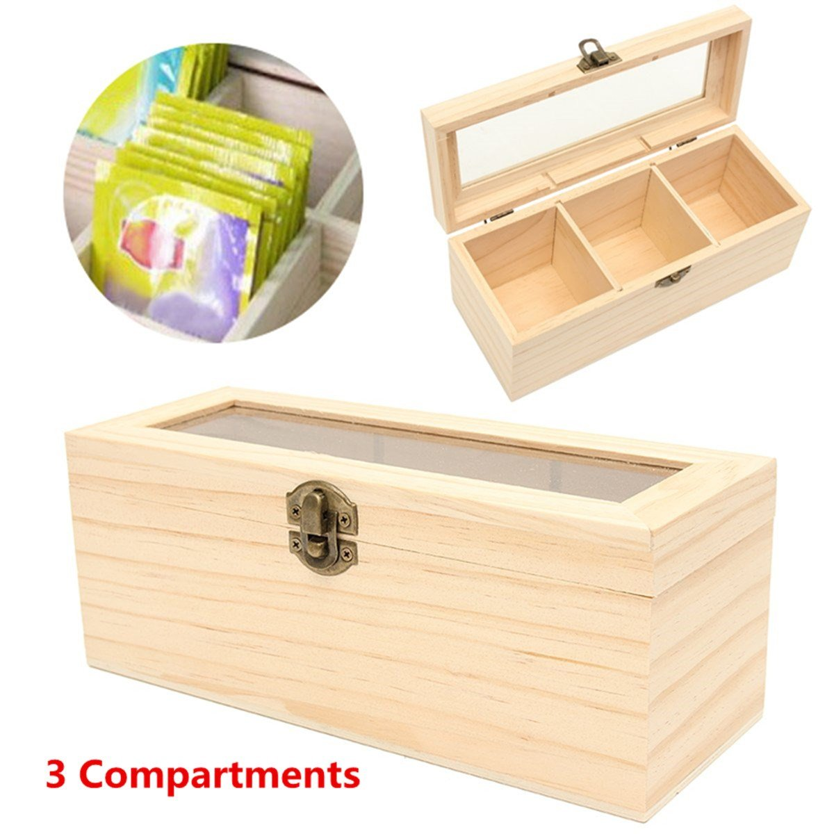 Katoot@ Antique 3 Compartments Wooden Tea Box Chest Tin Caddy Sundries Holder Home Kitchen Food Organizer Glass Lid Storage Container