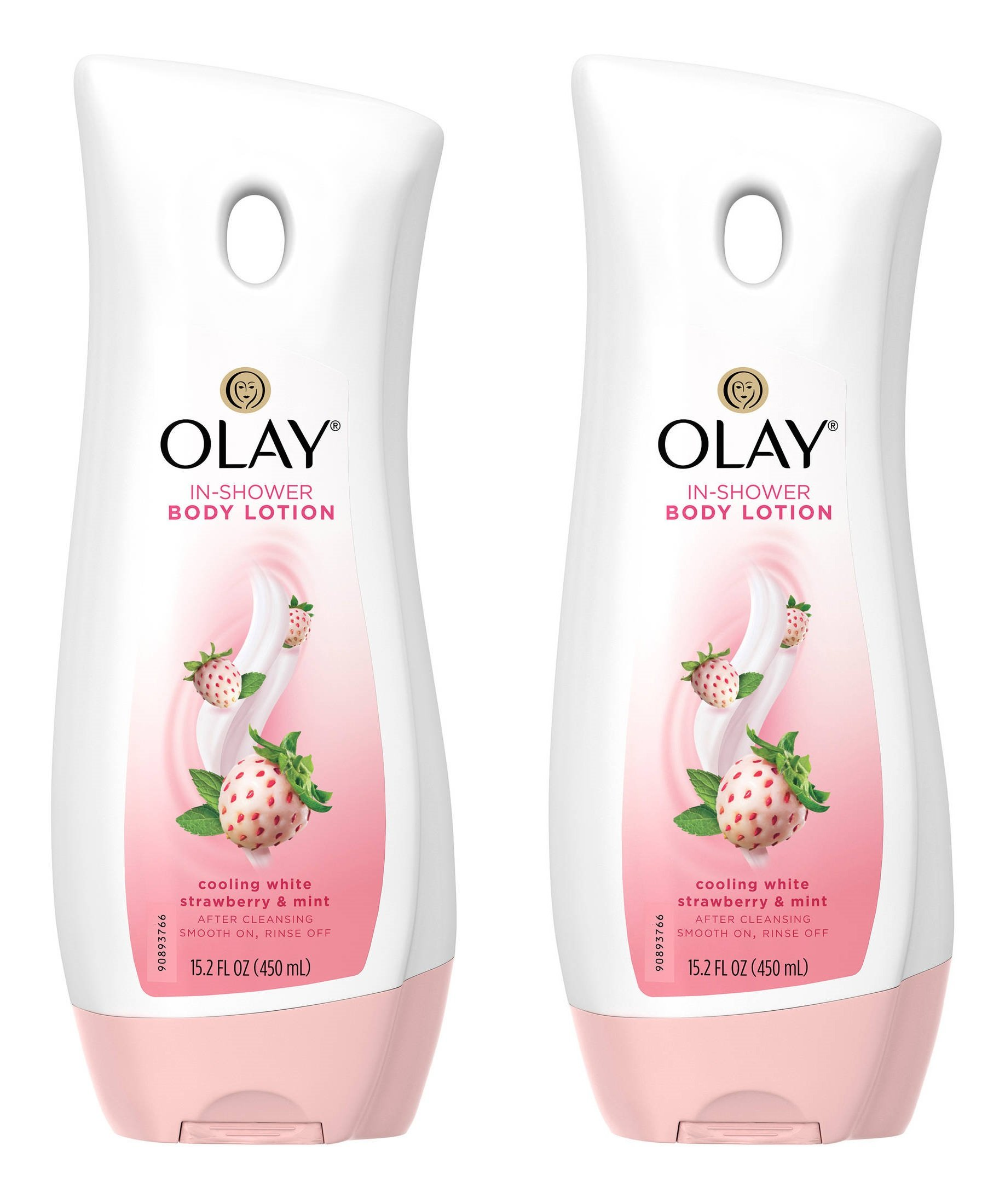 Olay In-Shower Body Lotion - Cooling White Strawberry & Mint - Net Wt. 15.2 FL OZ (450 mL) Per Bottle - Pack of 2 Bottles by Olay