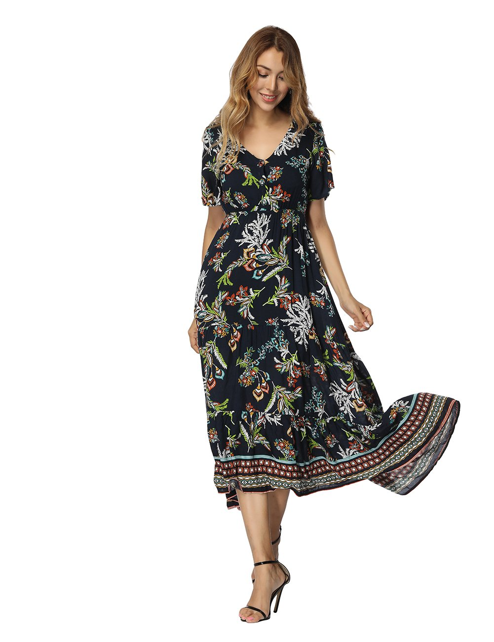 CINDYLOVER Boho Dresses for Women Asymmetrical Floral Print Party Casual Dress Dark Blue L