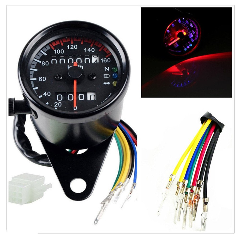 DLLL Universal Motorcycle 12V Dual Odometer Sdometer Gauge LED Backlight on