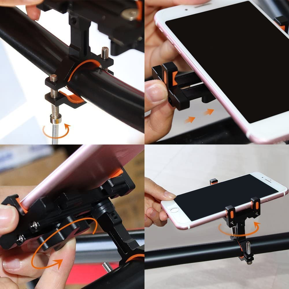 7 Plus iPhone 6s Galaxy S7//S6//S5 GPS 8 Plus 7 Aileap Aluminum Bike Phone Holder 360/° Adjustable Motorcycle Bicycle Handlebar Phone Mount for iPhone X Black 8 6s Plus