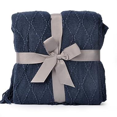 Battilo Knit Diamond Pattern Decorative Throw Blanket, 50  W By 60  L, Navy