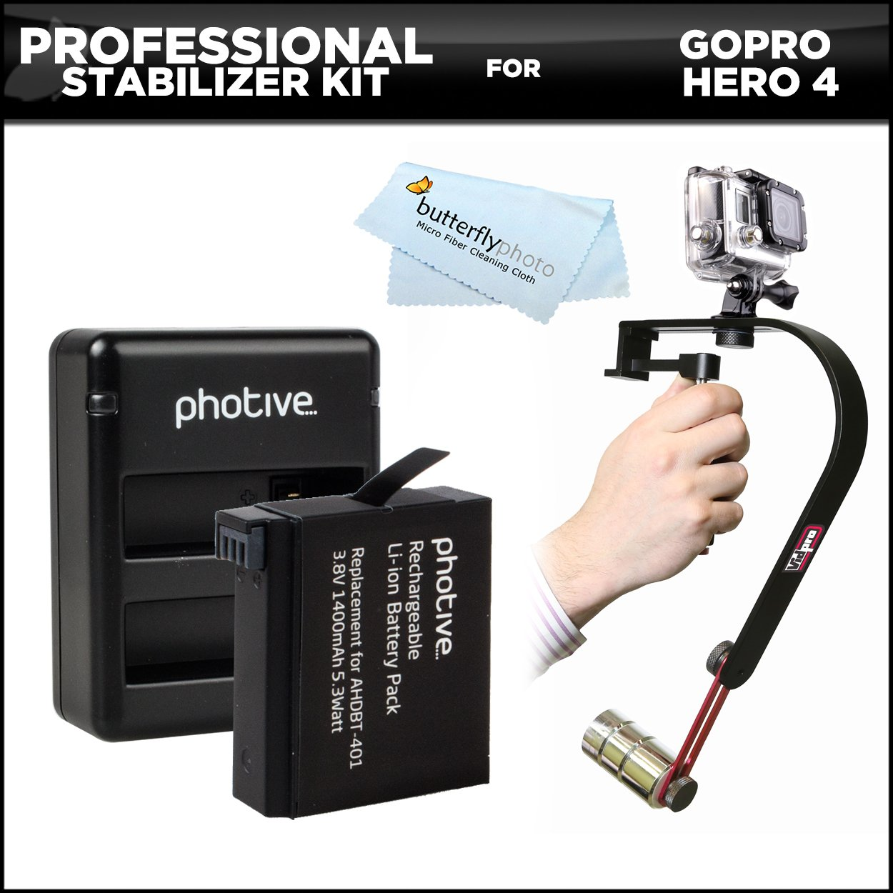 Professional Video Camcorder Stabilizer Kit For GoPro HERO4, Hero 4 Action Camera + Extended Replacement AHDBT-401 (1400 Mah) lithium-ion battery + Dual USB Battery Charger + MicroFiber Cleaning Cloth