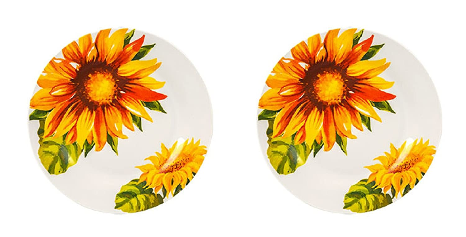 Set of 2 Sunflowers Print Design Stoneware Dinner Plates 10.5 (Dinnerware Table Setting - Kitchen Home Decor) Microwave and Dishwasher Safe