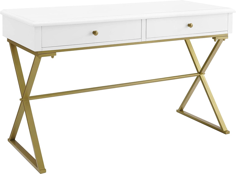 Linon Home Decor Products Harli Two-Drawer Campaign, White Desk