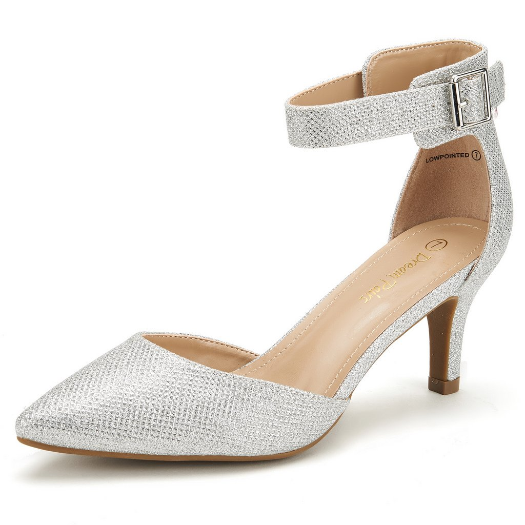 DREAM PAIRS Women's Lowpointed Silver Glitter Low Heel Dress Pump Shoes - 9.5 M US