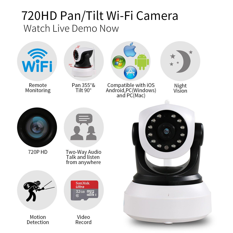 NEXGADGET IP Cámara HD WiFi de Vigilancia Seguridad Interior Detección Movimiento Visión Nocturna Visualización Remota Alarma Grabación de Vídeo P2P Pan ...