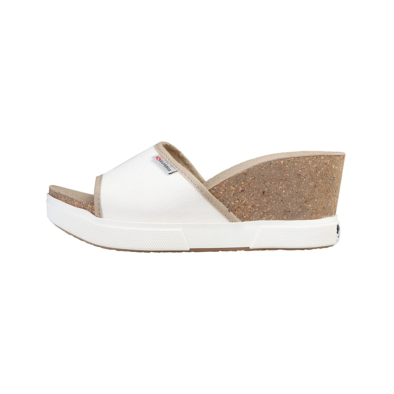 Superga Damen Canvas Sandalen mit Keilabsatz: