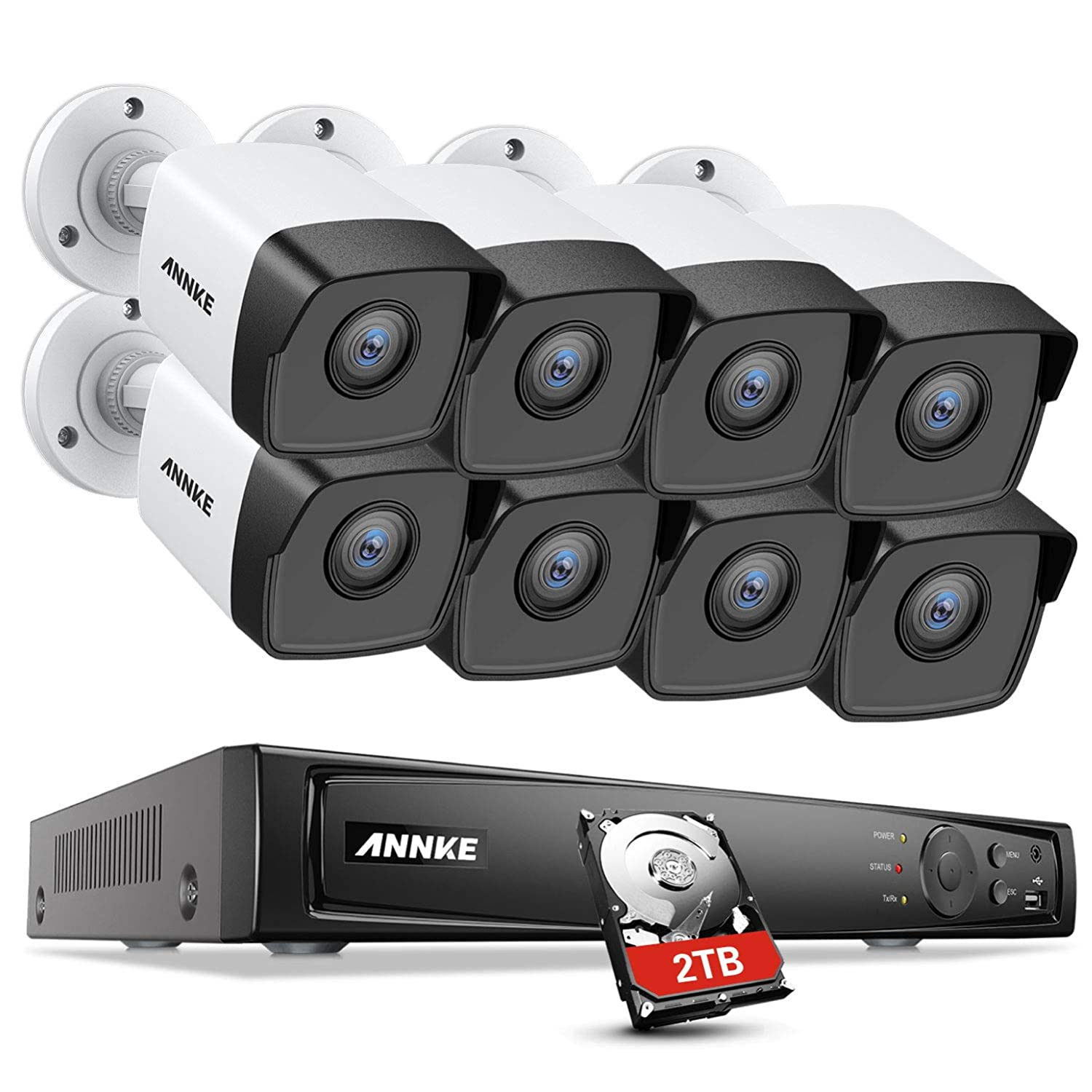 Remote Access ANNKE Security CCTV Camera System 8-Channel Ultra HD 4K H.265+ DVR with 2TB Hard Drive and 8/×5MP HD IP67 Weatherproof Bullet Cameras Email Alert with Snapshots 100ft Night Vision