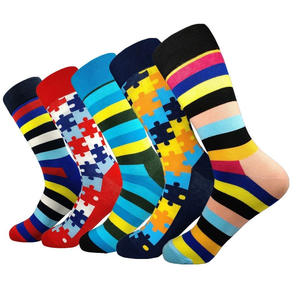 Hyf Socks Socks 5 Pairs Of Autumn And Winter Men'S Striped Men'S Socks Combed Cotton