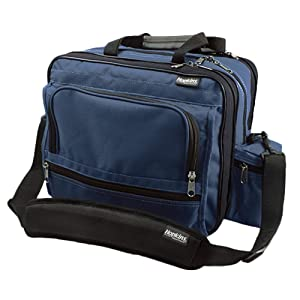 Hopkins Medical Products Mark V Shoulder Bag, HIPAA Compliant Lockable Zippers, Adjustable Straps, Reinforced Bottom, Fold-Down Compartment, 13 Inch x 11.25 Inch x 7.5 Inch, Navy