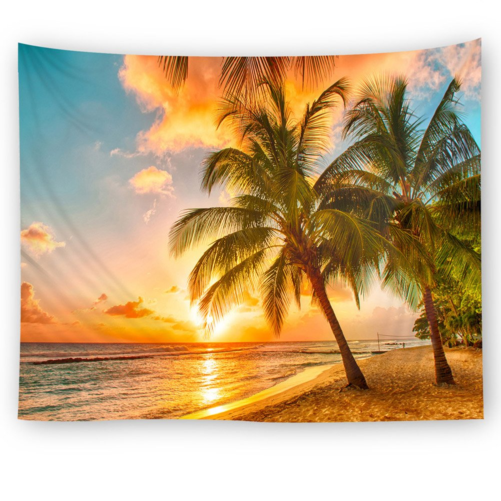 Amazon.com: Wall Hanging Tapestry Sunset Ocean Beach Tapestry ...