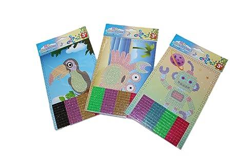 6x Mosaik Klebebild Bild basteln Mitgebsel Kindergeburtstag