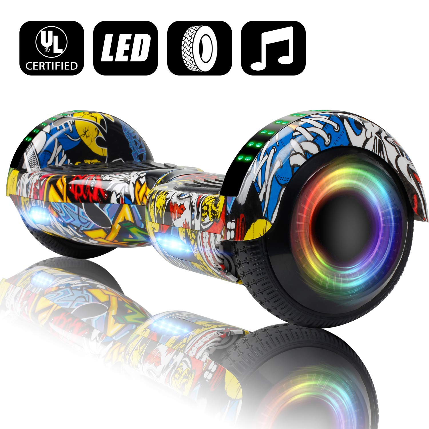 VEVELINE Hoverboard UL2272 Certified 6.5 inch Self Balancing Scooter with Colorful Flash Wheel Top LED Light, Built-in Bluetooth Speaker,Hover Board for Kids Adults Free Carry Bag(Graffiti) by VEVELINE