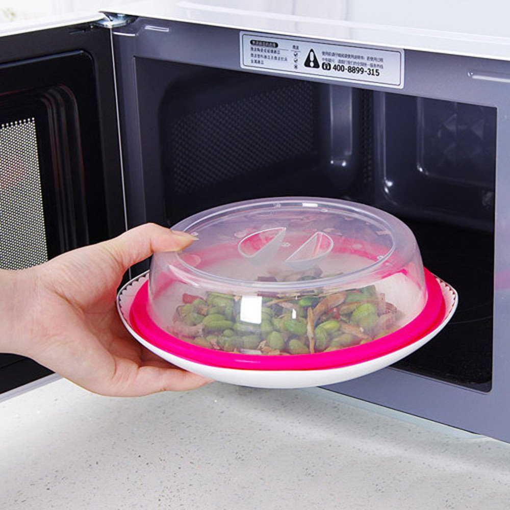 Gotian Food-grade Microwave Food Cover Plate Vented Splatter Protector Clear Kitchen Lid Safe Vent - Makes Your Food More Health and Delicious