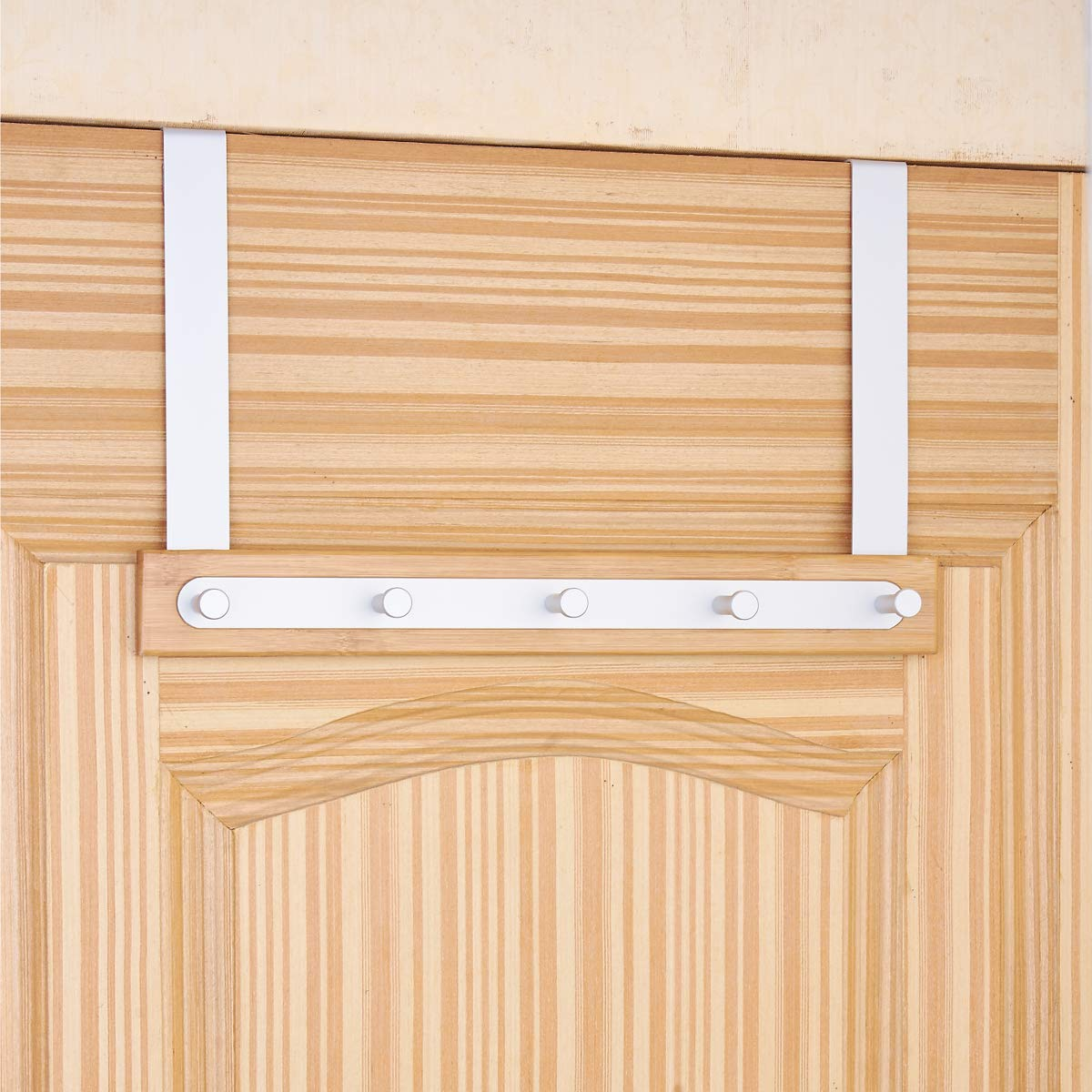 KeepTpeeK Over The Door Hook Hanger Organizer for Coats, Hoodies, Hats, Scarves, Purses, Leashes, Bath Towels & Robes Men and Women Clothing Rack 5 Hooks (Silver)
