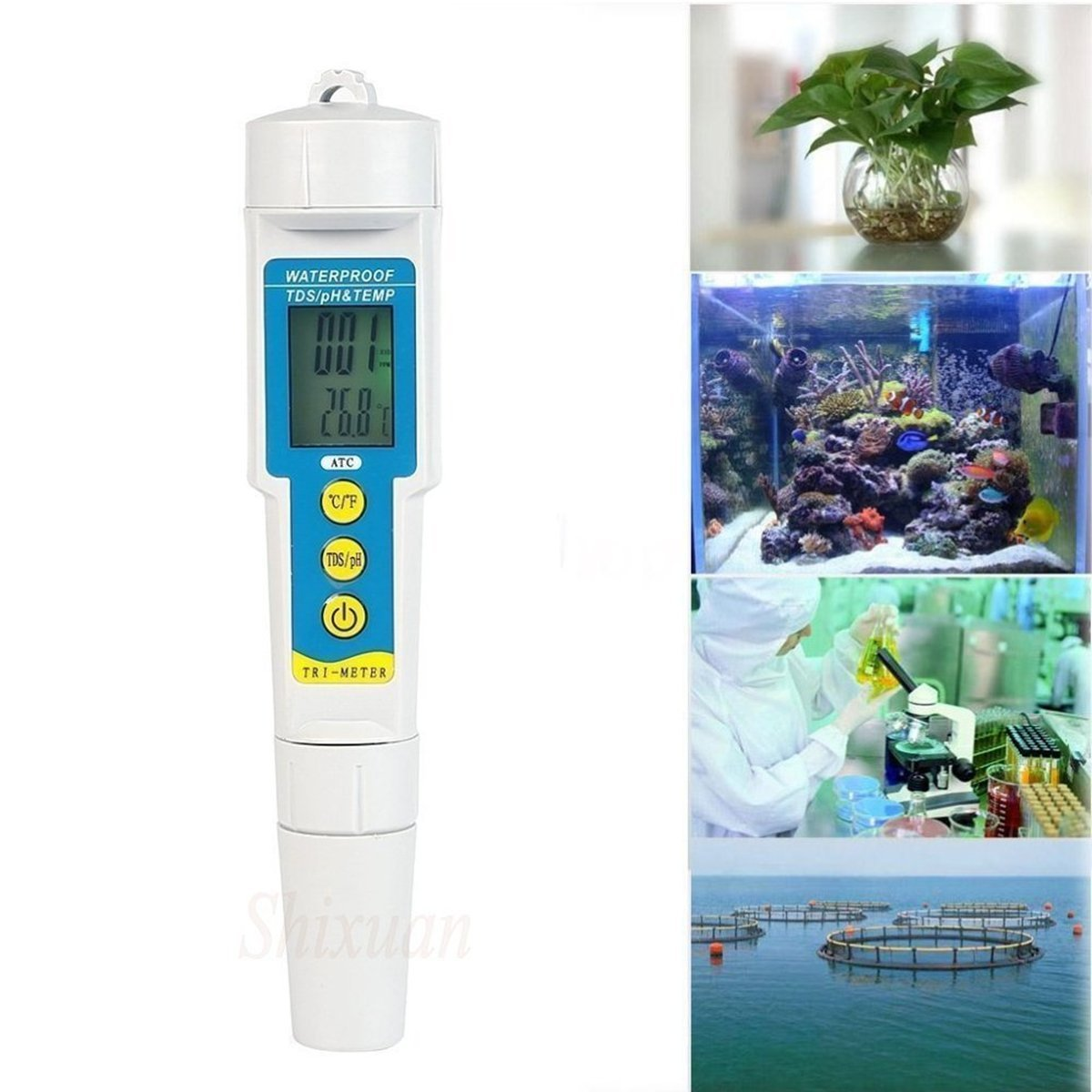 Digital Water Quality TDS Tester - QIYAT 3 in 1 PH Temp TDS Water Meter High Accuracy Quality Tester PPM Pen Resolution Range +/- 0.1 PH Value for Drinking Water, Aquariums, etc. (986)