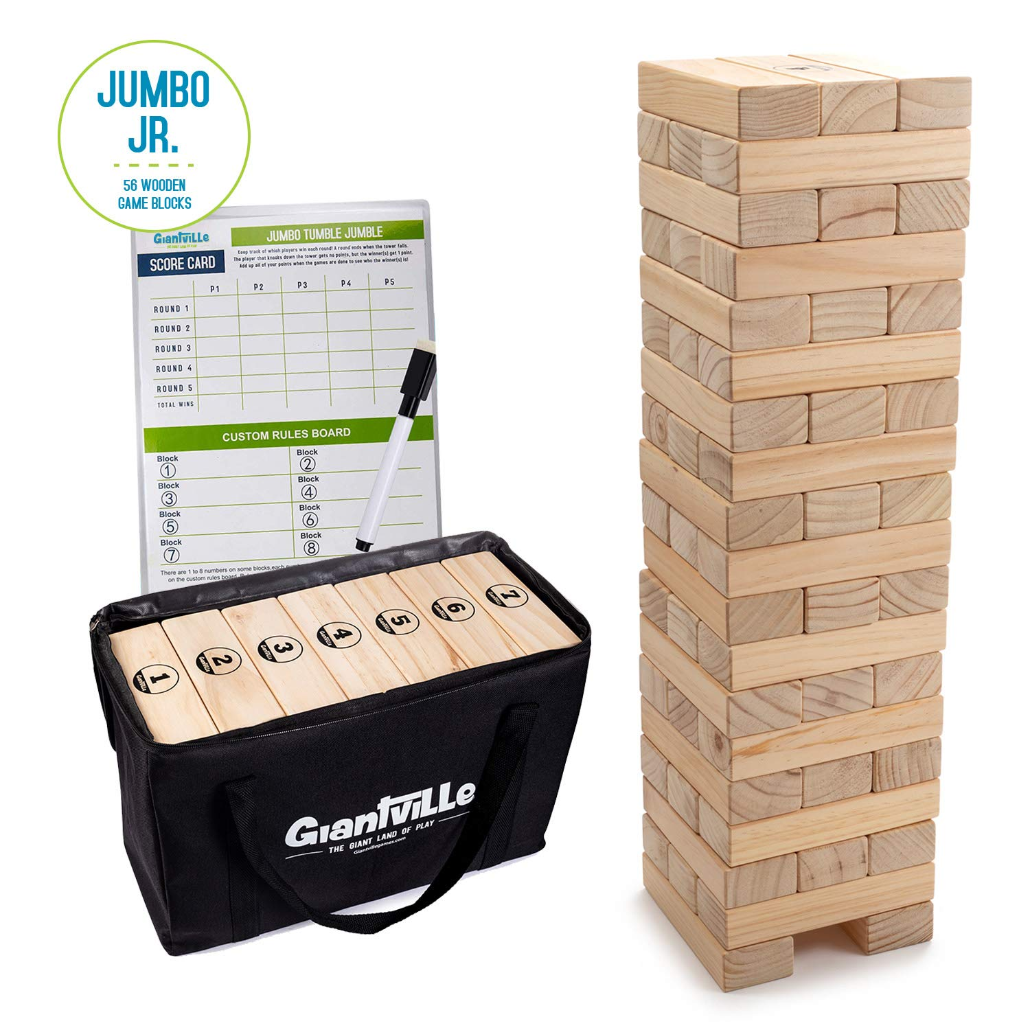 Giant Tumbling Timber Toy - Jumbo JR. Wooden Blocks Floor Game for Kids and Adults 56 Pieces Premium Pine Wood Carry Bag - Grows to Over 4-feet While Playing Life Size