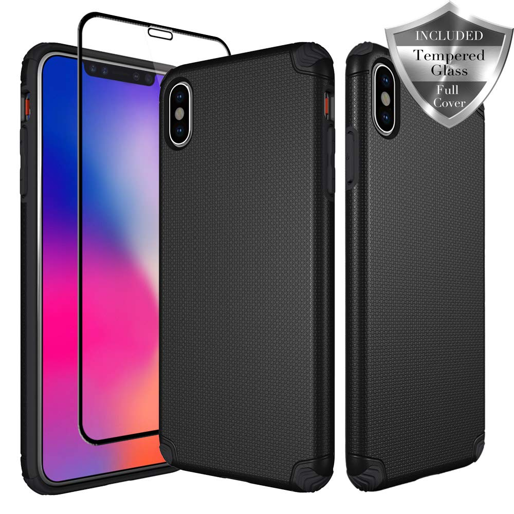 SWODERS Case for iPhone XS Max, [Hard PC Cover] High Impact Resistant Fully Protective Slim Case with Tempered Glass Screen Protector for iPhone XS Max 6.5'' - Black