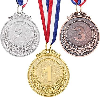 6 PIECES ENFANTS Olympique style gagnant Médailles récompenses avec Ruban Or Argent Bronze