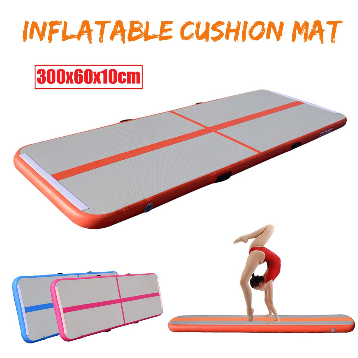 Parkour Yoga COSTWAY 1M Air Track Tumbling Mat Exercise Fitness Mat for Training D-Shaped Rings /& Repair Kit Inflatable Gymnastics Mat with Air Pump Cheerleading Indoor /& Outdoor Use