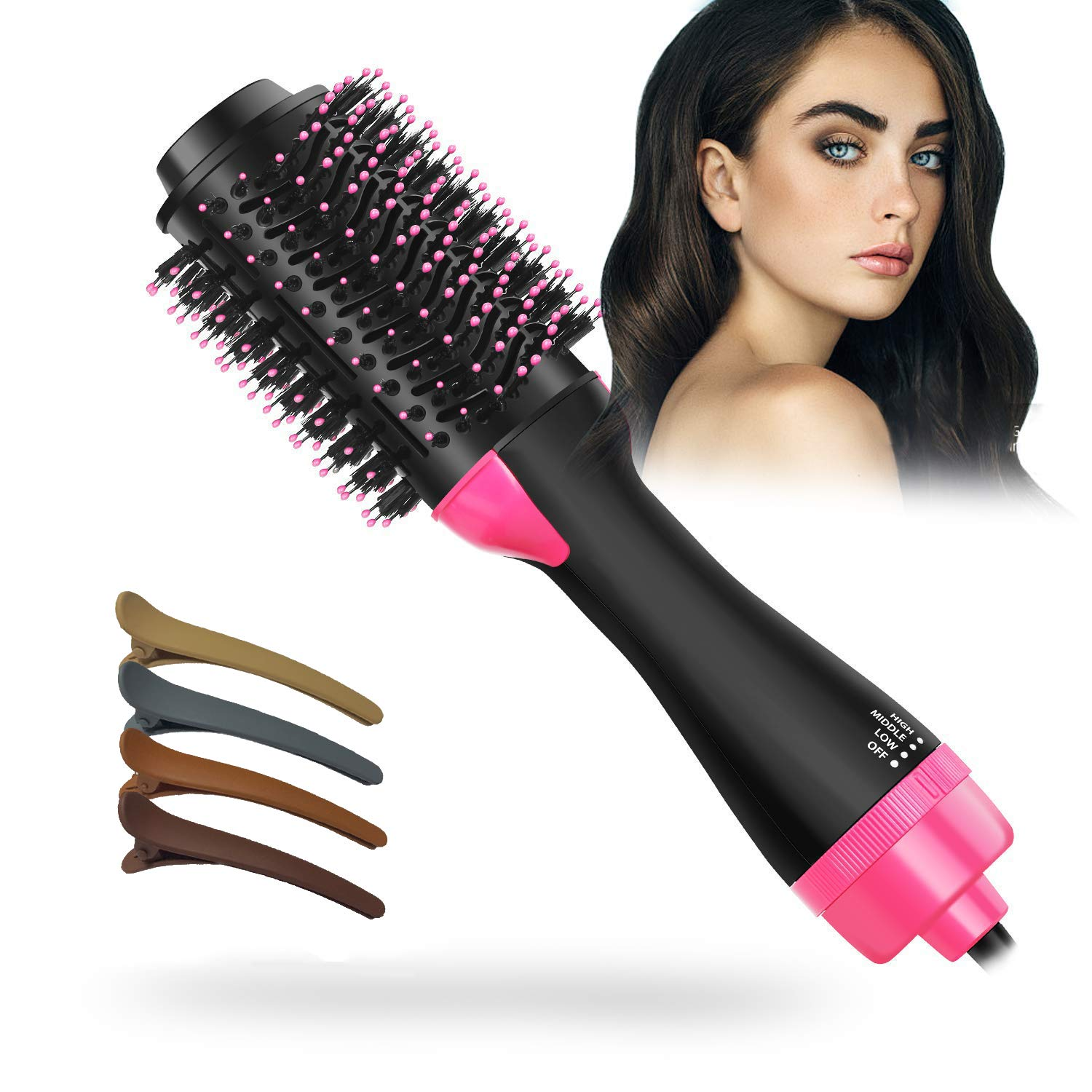 One-Step Hair Dryer & Volumizer,Hair Dryer Brush 2-in-1 Multi-functional Negative Ion Hair Straightener Curler Brush Reduce Frizz and Static for All Hair Types, 4pcs Hair Clips