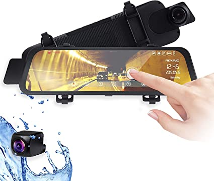 """Rexing M1 HD Dual Channel Rear View 10"""" IPS Touch Screen Mirror Dash Cam 1296p"""