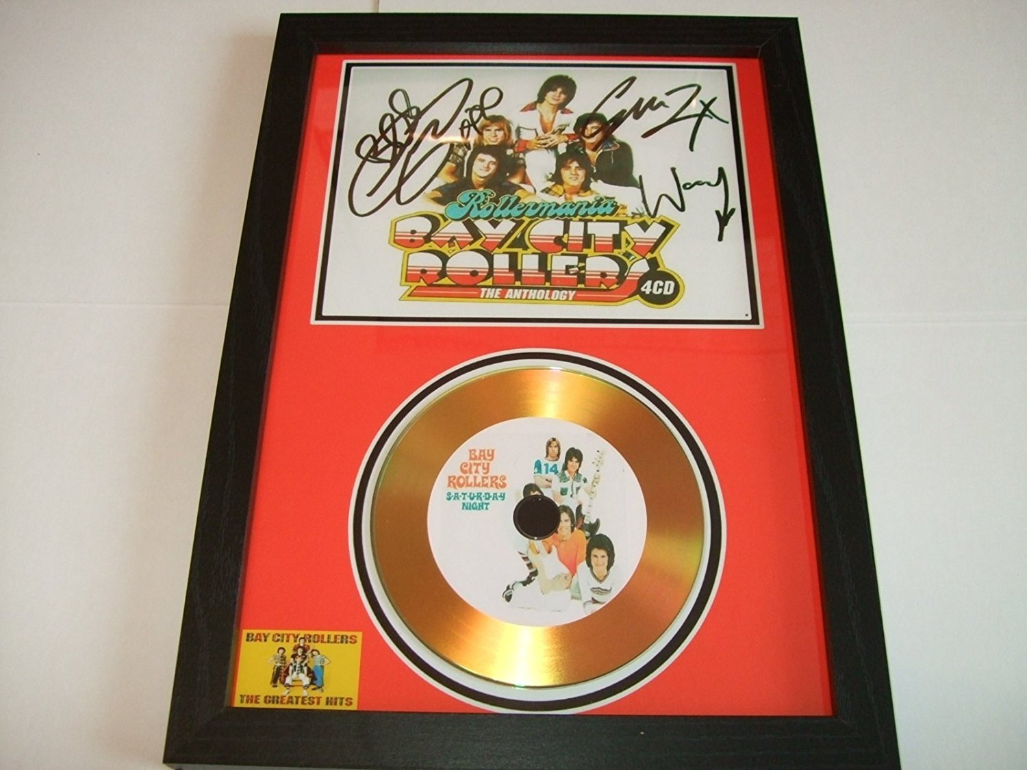 bay city rollers signed gold disc 3 home disc