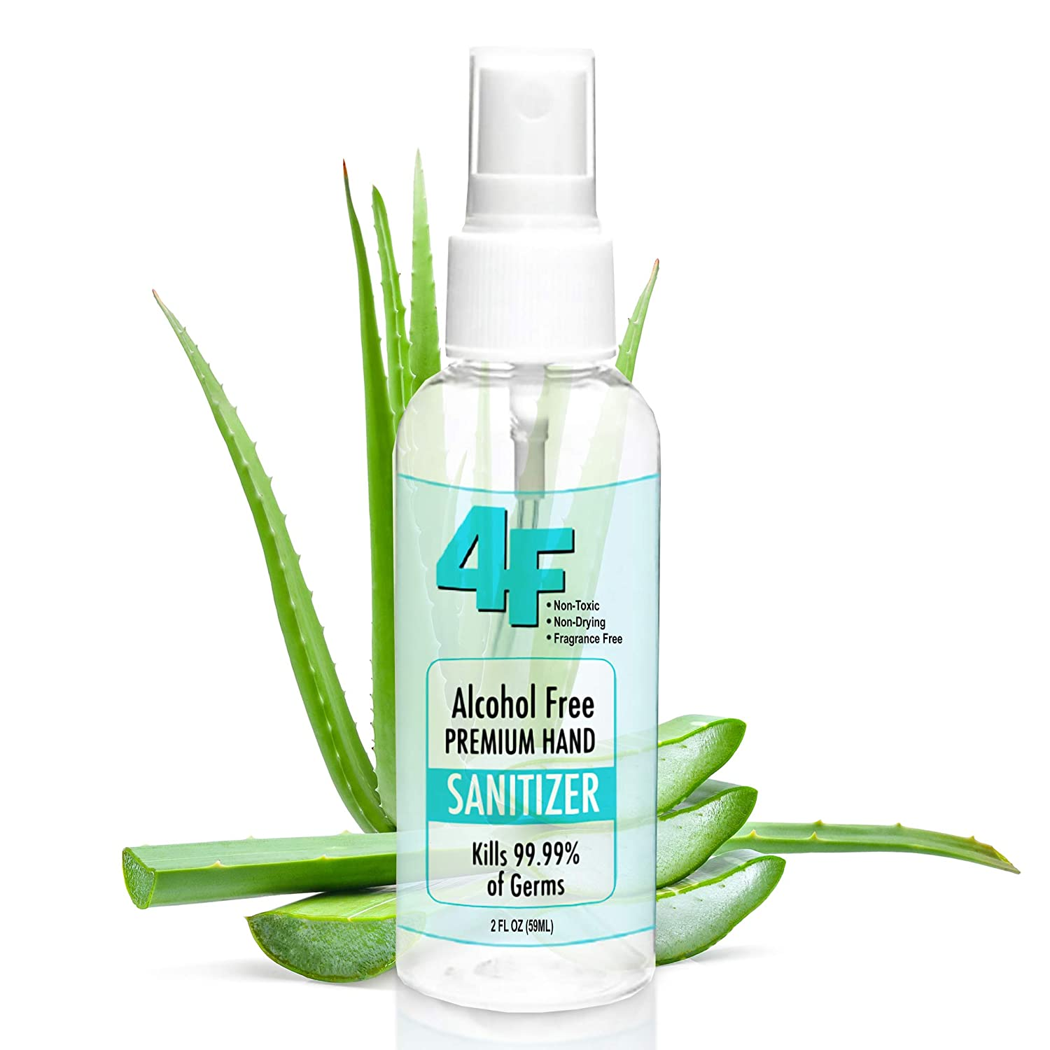 Hand Sanitizer 2oz - Made in USA by 4F - Fast Shipping - Moisturizing Alcohol-Free Antibacterial Hand Sanitizer - Long Lasting - Pet & Kid Safe