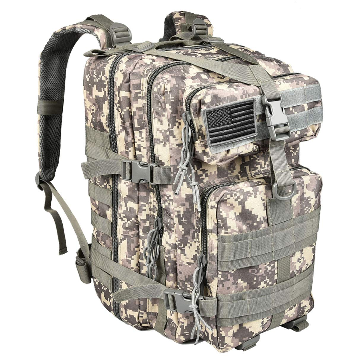 NOOLA 40L Military Tactical Army Backpack 3 Day Pack Molle Bag Backpack Rucksacks for Outdoor Hiking Camping Trekking Hunting with Flag Patch Camouflage ACU