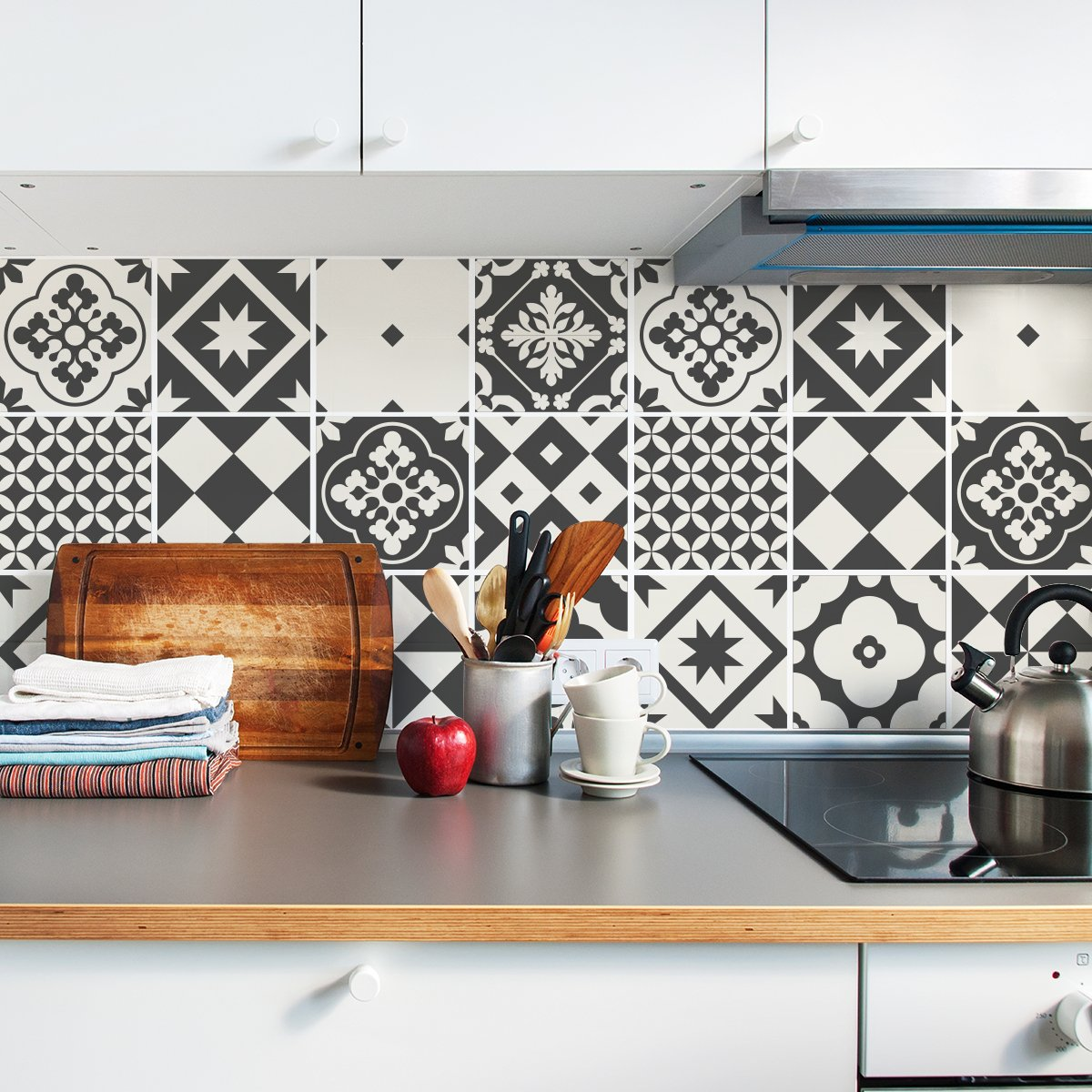 Sirface géométrique Échelle de Gris Tile Stickers–Ensemble de Stickers pour carrelage pour Cuisine et Salle de Bain–Lot DE 24–Différentes Tailles Disponibles, 4x4 inches   10x10 cm