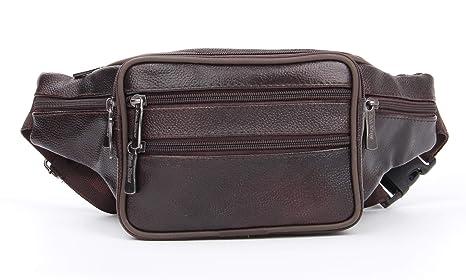 16fbdacd80ee Genuine Leather Waist Pack, Multiple Pockets Fanny Pack Soft Leather Hip  Bag for Men & Women Dark Brown