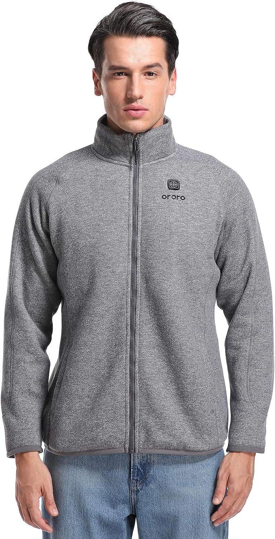 ORORO Mens Heated Fleece Jacket Full Zip with Battery Pack