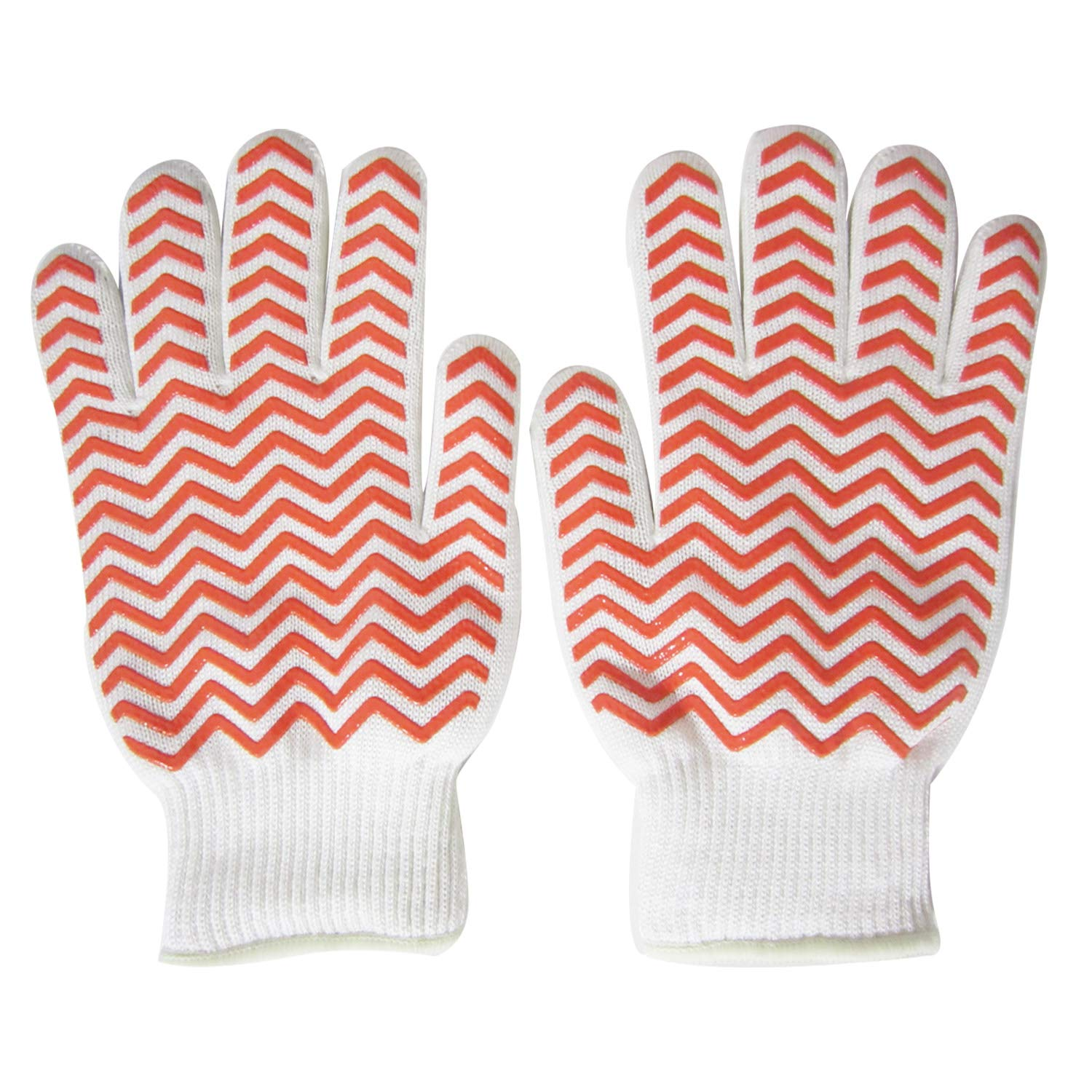 Heat Resistant Gloves Protective Gloves Oven Mitts BBQ Gloves Barbecue Gloves Grill Gloves Kitchen Gloves Best Cooking Silicone Gloves For Barbecue Grilling Boiling Outdoor and Kitchen (Orange Gloves)