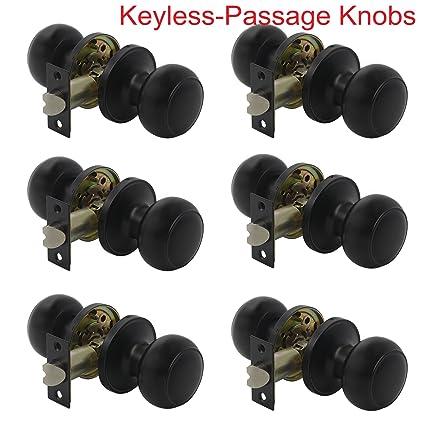 Probrico Flat Ball Keyless Door Lock Passage Door Knobs For Hall Closet  Black Door Handle Hardware