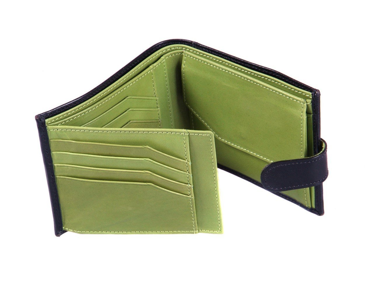 Wallet With Coin Purse And Tab Black With Lime Green SageBrown