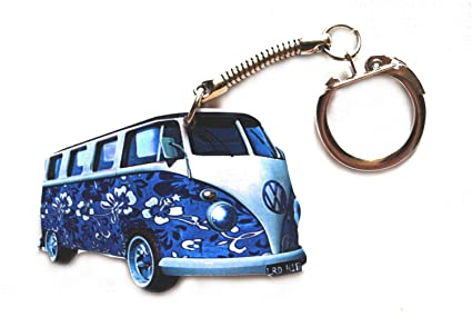 L R VW VW8 - Llavero de Furgoneta, diseño de Flores Azules ...