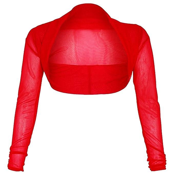 New Ladies Womens Chiffon Bolero Long Sleeves Crop MESH Shrug Cardigan TOP 8-26