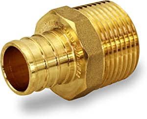 Supply Giant FQNB3410-OM 3/4 Inch x 1 Inch Lead Free Adapters x MIP, Brass Construction, Compatible w/PEX Piping, Low-Cost Plumbing Connection, Durability & Reliability, Easy to Install, 3/4 x 1
