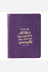 All This Through Him Philippians 4:13 Bible Verse Purple Faux Leather Journal w/Ribbon Handy-sized Flexcover Inspirational Notebook w/Ribbon, Lined Pages, Gilt Edges, 5.5 x 7 Inches Leather Bound