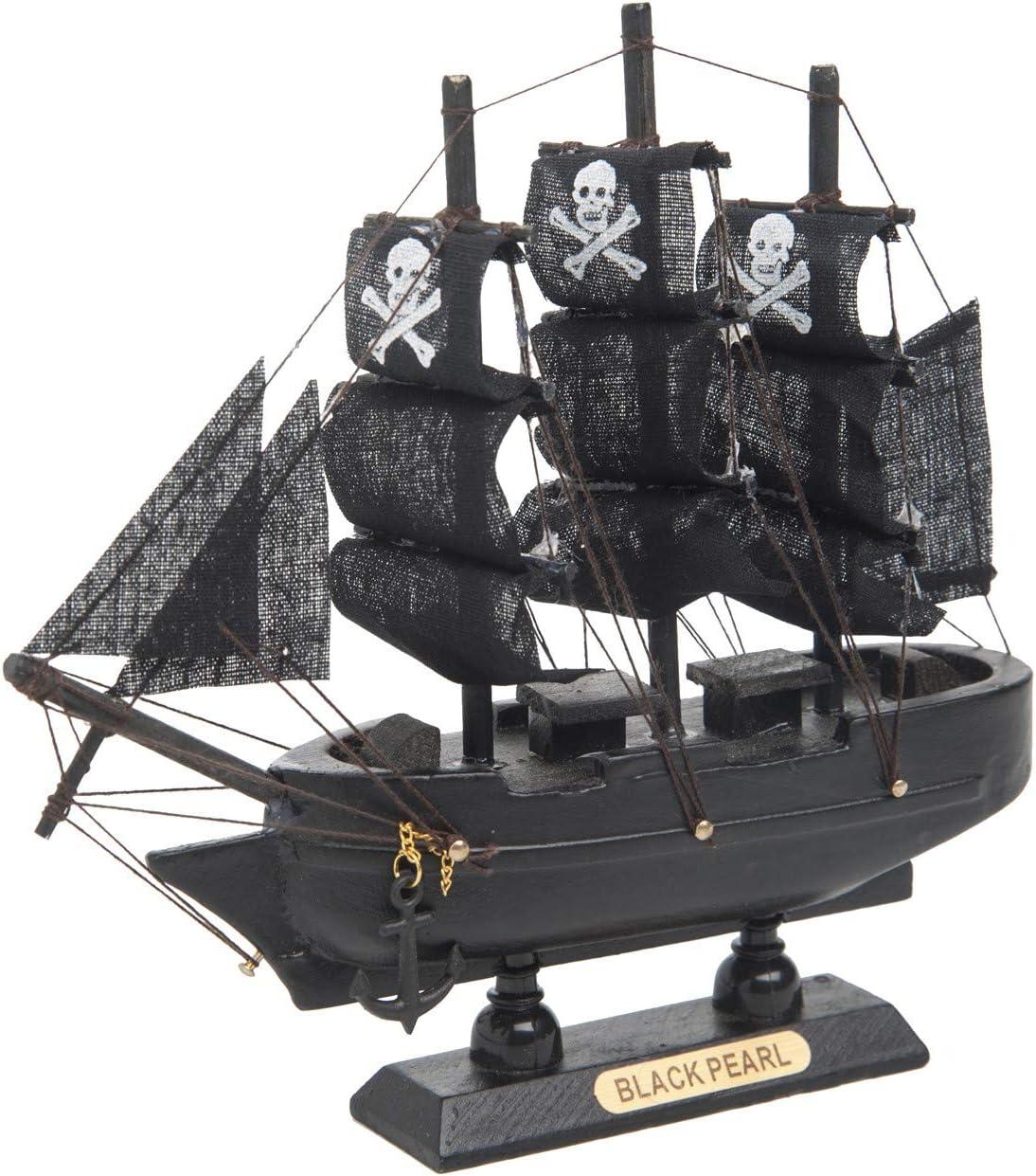 Beachcombers SS-BCS-20397 6 x 6 Inch Black Pearl Pirate Ship Wood Tabletop Figurine on Pedestal