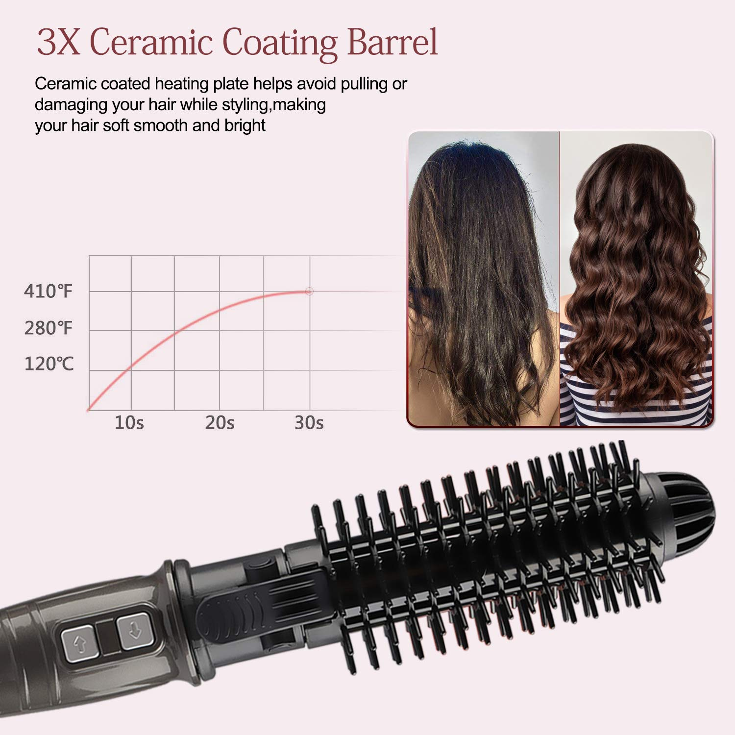 HISOON Professional Curling Iron Brush, 1.25 inch Automatic Curling Iron 2 in 1 Dual Voltage Ceramic Tourmaline Hair Curler Hot Brush, Anti-Scald Instant Heat Up Curling Wands Black