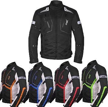 Red, XL Motorcycle Jacket Mens Riding HWK Textile Racing Motorbike Hi-Vis Biker CE Armored Waterproof Jackets