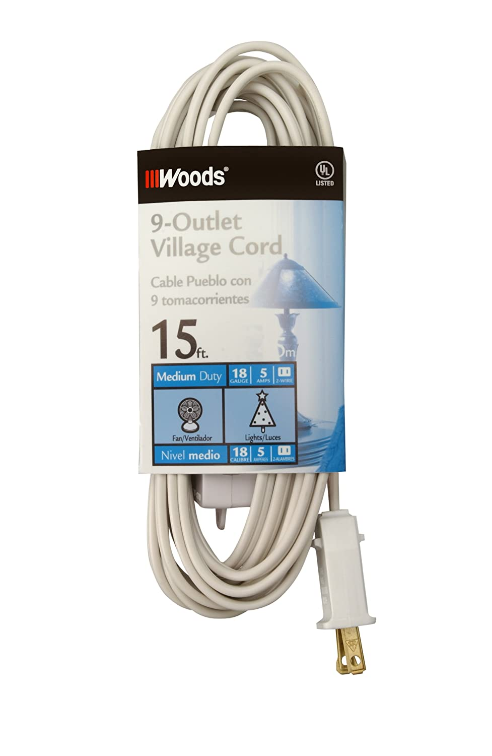 Coleman Cable 2188 2 Pack 15ft. 9 Outlet Indoor Village Extension ...