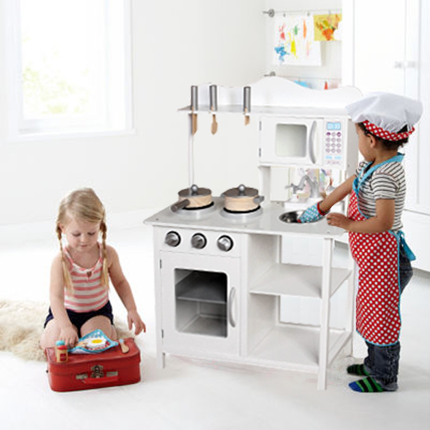 Kids Wooden Play Kitchen Pretend Toy Cooking Role Play - White ...